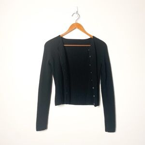 Classic Cropped Black Soft Knit Cardigan